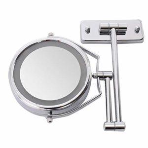PUNGDUNK 6 Pouces Double Face LED loupe éclairée loupe Salle de Bain Rasage miroirs de Douche 7X Maquillage Miroir cosmétique Mur monté avec la lumière