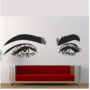 Salon de beauté cils sticker mural étanche vinyle cils bricolage autocollant salon de beauté femme Art cils décalcomanies 57×18 cm
