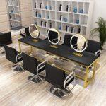 SXTYRL Magnifique Miroir LED Salon Coiffure Miroir Double Face dédié, Miroir Table Net Ti Red Barber Shop, Salon beauté avec Lampe Miroir Maquillage Bureau Double Face Miroir Coiffeuse