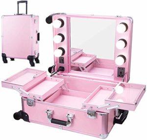 Trousse de maquillage de train roulant avec des lumières, grande trousse de vanité éclairée avec organisateur à roulettes à miroir pour dressing, trousse de maquillage de voyage (23.03 «X 15.75»)
