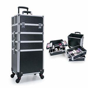 VBARV Mallette de Train de Maquillage 4 en 1, 4 Roues Amovibles avec poignée de Levage + clé verrouillable, Chariot de Chariot en Aluminium Travel Beauty Cosmetic Artist Stylist Organizer Box