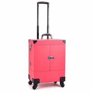 ZDAMN Cas cosmétique Étui Multifonctionnel en Aluminium de Maquillage de Chariot Roulant de roulettes Multifonctions de 360 degrés avec Intercalaires réglables pour Les cosmétiques (Couleur : Pink)