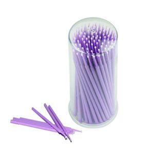 100 Pcs Micro-applicateur dentaire jetable pinceau Ultrafine pliable, applicateur de mascara cils brosses d'extension, diamètre: 2,5 mm