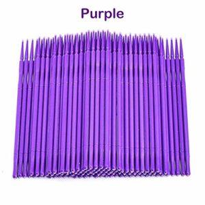 100/200/ 400Pcs Micro Brosses Jetables Applicateur Extensions de Cils Baguettes Mascara Pinceau 3 Couleurs Bleu/Vert/Violet 3 Tailles pour Sourcils, violet