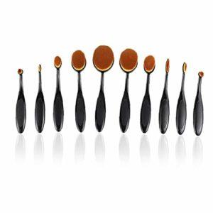 10PCS pinceau de maquillage Set doux ovale en forme de brosse à dents Fondation Contour Pinceau Poudre fard à joues Conceler Eyeliner Pinceau estompeur cosmétiques Brosses Ensemble d'outils