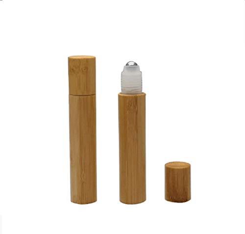 2 PCS 15ML Vide Bambou Shell En Plastique Transparent Intérieur En Acier Ball Roll sur La Bouteille Huile Essentielle Parfum Jar Container Corps Massage Rouleau sur Stylo Cosmétique Outils