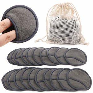 20 PCS démaquillants, coton lavable en bambou lavable et réutilisable, tampons en tissu de lavage confortables pour le maquillage des yeux Retirez le chiffon pour le visage