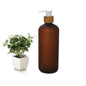 500ml brun vide en plastique shampooing gel de douche emballage bouteille pot pot avec pompe en bambou naturel pour le maquillage cosmétique bain savon savon de toilette