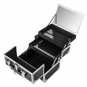 AMASAVA Mallette Maquillage Beauty Case Valise Maquillage Coffret cosmétique Boîte à Maquillage avec Miroir et clé Coffrets Professionnelle – 25.5 × 19.5 × 22cm(Noir)