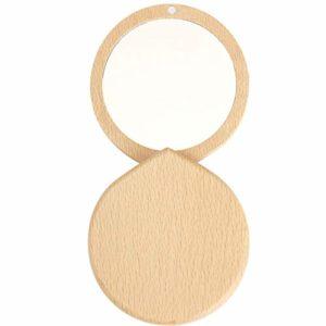 anaan 'Drop' Miroir de Poche bois Miroir à Main Maquillage petit rond Miroir Compact et Portable pour Voyage Cadeau Desig (hêtre)