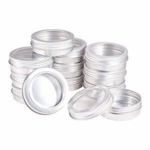 BENECREAT 25 PCS Bocaux en Aluminium de 60 ML Bidons en Aluminium Ronds Contenants de cosmétiques avec couvercles à vis pour fenêtre pour Bricolage, crème de Bougie Maquillage – Platinum