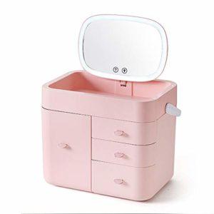 Boîte de rangement cosmétique maison rack LED lampe avec maquillage miroir rouge à lèvres produits de soins de la peau anti-poussière simple cadeau (Color : PINK, Size : 31 * 24.5 * 25.5CM)