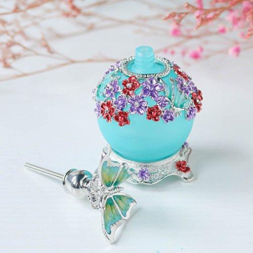Bouteille de parfum papillon, bouteille de parfum en verre rechargeable rétro en verre dépoli vide avec corps de bouteille bleu 23 ml