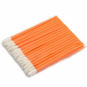 CAIYAN-Beautiful 500pcs / unité de Maquillage jetable Pinceau à lèvres Rouge à lèvres Gloss Baguettes applicateur Outils de Maquillage Mode conçu-Orange, 10pack dans 1 unité, 50Pcs / Pack