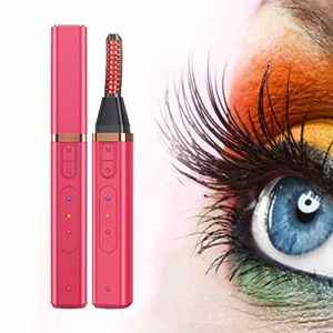 Chauffage Électrique Cils Bigoudi 360 ° Nouvelle Mise À Niveau USB Rotary Eye Lash Curling Clip Electric Eye Lash Curler Beauté Outils De Maquillage,Rouge