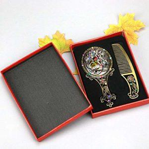CSHBD Rétro Miroir à Main Ensemble de Peigne,Sculptures Creuses Royal Princesse Peigne de Maquillage Miroir Motif Aléatoire