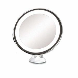 Daylight LED 10X – Miroir De Maquillage Grossissant – Miroir de Toilette Portatif Et Lumineux – Rotation Réglable À 360 Degrés