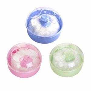 EXCEART 3Pc Bébé Puff Boîte Ronde Douce Moelleuse Bouffée de Poudre Contenant de Maquillage Vide pour Bébé Soins de La Peau (Couleur Aléatoire)
