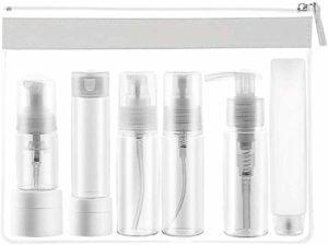 LLYX 8 bouteilles de voyage, TSA approuvé Preuve Contenants Voyage fuite, Taille Voyage Portable de toilette Bouteilles silicone Set, clair-cosmétiques Maquillage liquide contenants (8 Pack) avec sac