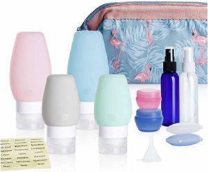 LLYX Bouteilles Voyage en silicone TSA approuvé étanche avec des étiquettes et sac de toilette, 11 pces Voyage Conteneurs Accessoires for toilette Shampooing Revitalisant et autres liquides (2/3 OZ)