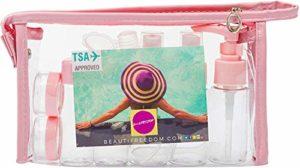 LLYX Compagnie aérienne TSA Approuvé Rechargeables Set avec preuve-Peut être BPA-Free-Emballage cadeau avec 3-1-1 conteneurs Bottle-fuites Voyage for liquides (shampoing, parfum) Sac de toilette, Peti