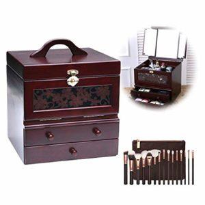 LOGYIO Organisateur de Bijoux en Bois, boîte à Bijoux de beauté pour Maquillage avec 2 tiroirs et Miroir Pliant, Cadeaux et décoration de la Maison,B