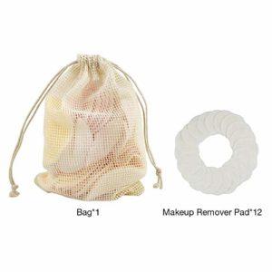 Lot de 12 tampons de démaquillant 2 couches de fibres de bambou lavables réutilisables pour le visage avec sac en maille de coton, pour le nettoyage des yeux/du nez/du visage