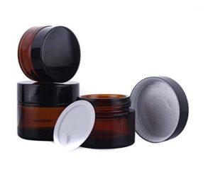 Lot de 3 pots 30ml (28,3grammes) en verre teinté rechargeables pour produits cosmétiques, crème, crème pour le visage, baume à lèvres, contenant avec couvercle noir