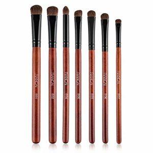 Lot de Pinceaux de Maquillage pour les Yeux par Quickcare Pinceaux Maquillage à Yeux 7pcs,pinceau de maquillage fait à la main pour pinceau à poudre, eyeliner, fard à paupières (marron)