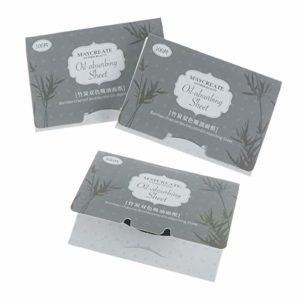 Lurrose Feuilles de papier absorbant l'huile de visage 100PCS pour les soins de la peau grasse absorbe instantanément l'excès d'huile et de brillance du charbon de bois de bambou pour le visage