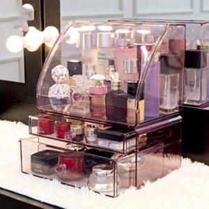 Maquillage Sac à grande capacité cosmétiques Boîte de rangement Boîte de rangement Tiroir cosmétiques Soins de la peau rouge à lèvres Masque Matériau tablette amovible acrylique poignée ronde Violet T
