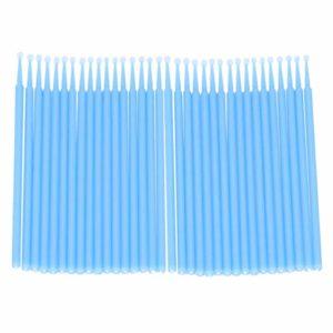 Minkissy 200 Pcs Micro Brosses Jetables Écouvillons Baguettes Micro Pointe Applicateurs Brosse à Mascara pour Extensions de Cils – Taille L (Bleu Ciel)