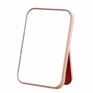 Miroir de maquillage – miroir de maquillage de toilette de bureau à domicile miroir de pliage portable miroir de maquillage rectangle minimaliste – rose clair L