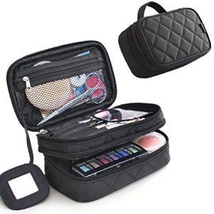 MLMSY Make Up Sac pour les femmes avec miroir de beauté Maquillage Sacs Pinceau Kit de Voyage Organisateur Sac cosmétique professionnel multifonctionnel 2 couche Organisateur (support noir)