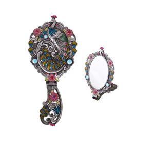 Moiom Style Vintage Pliable Ovale Paon Motif Maquillage à la Main/Miroir de Table, Métal, Antique Silver, 8.8″x3.9″