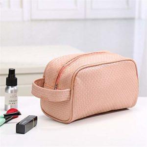 Ohne Markenzeichen Sacs étanches PU Sac de Toilette cosmétiques en Cuir Voyage Organisateur Femmes Maquillage Sac Maquillage Sacs Beauty Case Stockage (Color : Pink)