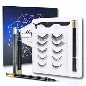 ONLYOILY Eyeliner et Kit de Cils, 3D Faux Mink False Lashes Cils réutilisables longs et épais, 5 paires de faux cils dramatiques avec pince à cils