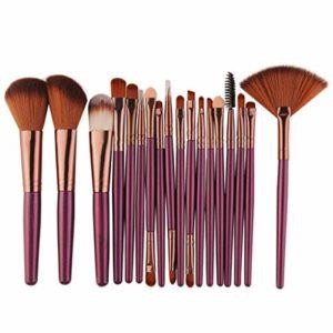 Pinceaux de maquillage Ensembles visage/yeux ovales haut de gamme Brosse Voyage pour les enfants femmes 18Pcs- vie quotidienne cosmétiques Violet poignée outil,Violet