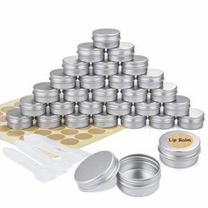 Pots en Aluminium, 30 Pièces Conteneurs Cosmétiques Vide Pots de Voyage Rondes avec Mini Spatule et étiquette pour Maquillage, Crème, Baume à lèvres – 20 ML