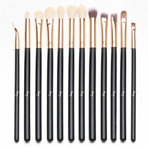 Qivange 12pcs Kit de brosse à yeux Kit de pinceau de maquillage(Rose Gold)