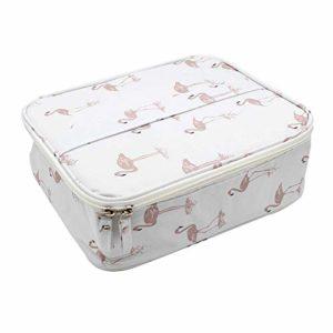Ruesious Sac cosmétique séparateur détachable sac de rangement cosmétique boîte à cosmétiques maquillage brosse beauté couvercle de protection vernis à ongles (Flamingo) Taille: 26cm * 21cm * 9.5cm
