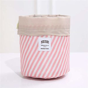 Sac cosmétique Voyage Femmes Maquillage Sacs de toilette Organisateur Waterproof Femme Stockage maquillage sac (Color : Powder stripe)
