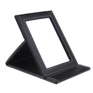 TASIPA Miroir de Maquillage Pliable en Cuir PU, Miroir de Voyage portatif, miroirs de Toilette avec Pied (M)