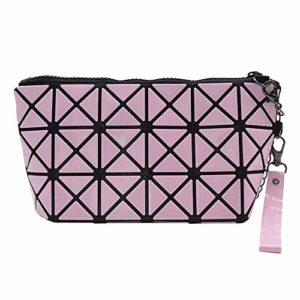 Trousse de maquillage pour filles, sacoches de maquillage géométriques, pochettes de rangement pour outils de maquillage en treillis taillé, organisateur de sac à main en cuir PU repliable