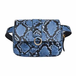 Vssictor Sac banane sac poitrine réglable pour hommes femmes, motif peau de serpent en cuir PU élégant sac ceinture pour voyages, randonnée, course à pied, sports de plein air