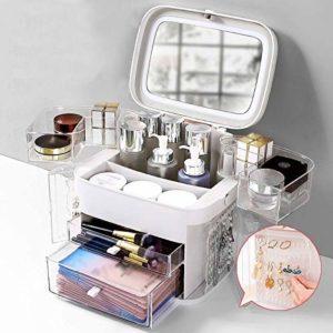 XMZFQ Maquillage Acrylique Organisateur Boîte de Rangement avec LED Vanity Miroir et Tiroirs Bijoux imperméable et Anti-poussière Présentoir pour Salle de Bains Dresser,Blanc
