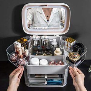XMZFQ Maquillage Organisateur avec LED Miroir Table Portable Bureau Boîte de Finition avec des Bijoux lumière et cosmétiques Cas de Stockage d'affichage pour Salle de Bains Dresser,Gris
