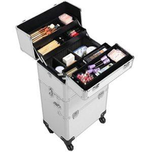 Yaheetech Mallette à Maquillage Valise Cosmetique Bijoux Beauty Case Trolley Coiffure Professionnel Portable Voyage Argente