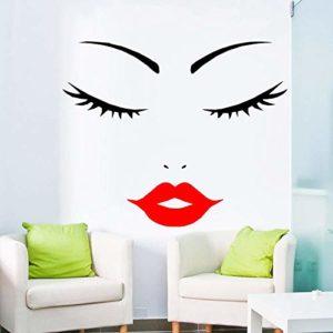 yaofale Visage de Femme-Femme Visage-Cils-lèvre Rouge Wall Sticker-Cils téléchargement-Cils Contour-Cramoisi lèvres