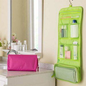 ZJXYYYzj Trousse De Maquillage, Sac cosmétique Voyage Sac Maquillage Solide Crochet Trousse de Toilette de Lavage Organisateur de Stockage Hanging Pouch (Color : Green)